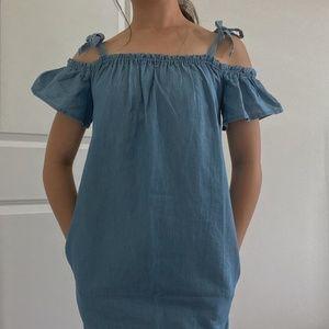 Cute Off-The-Shoulder Denim Dress